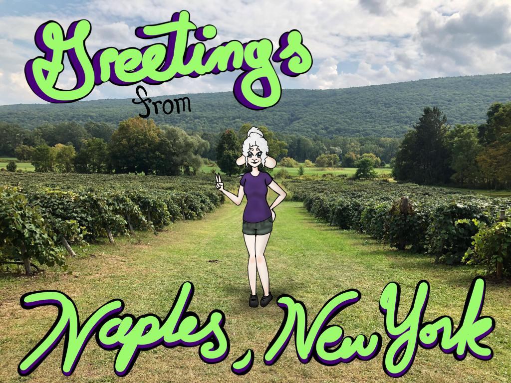 Sheepie Niagara visiting Naples Grape Festival, Naples, NY.