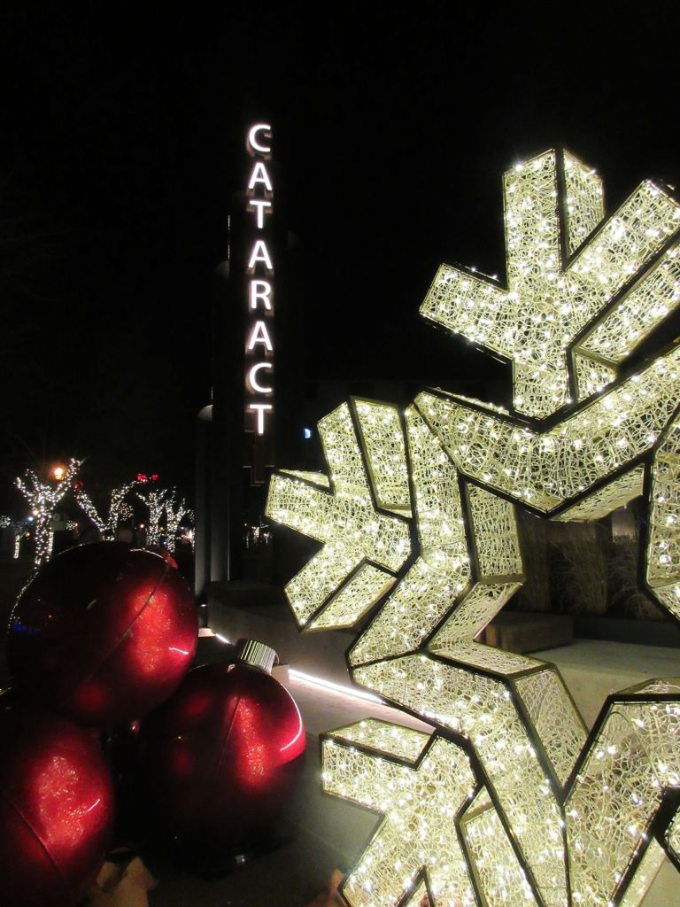 Snowflake and ornament sculptures at the new Cataract Commons in Niagara Falls, NY.