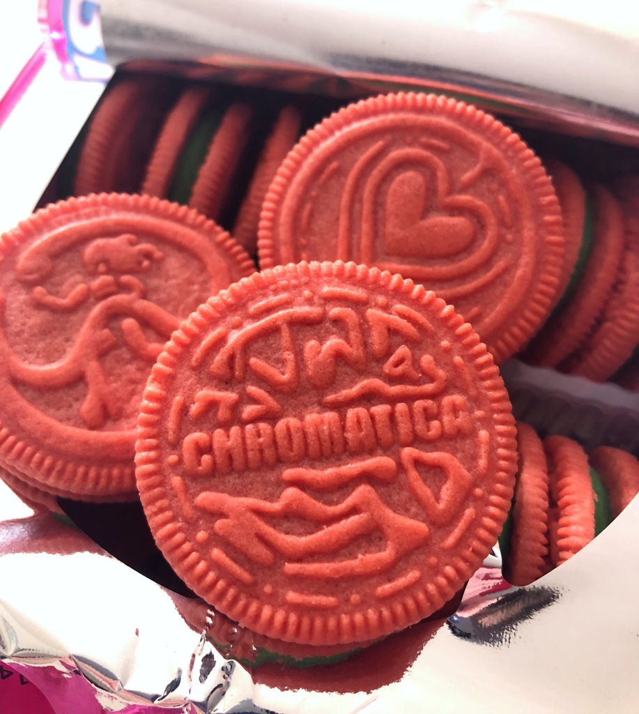 Close up of Chromatica Oreos