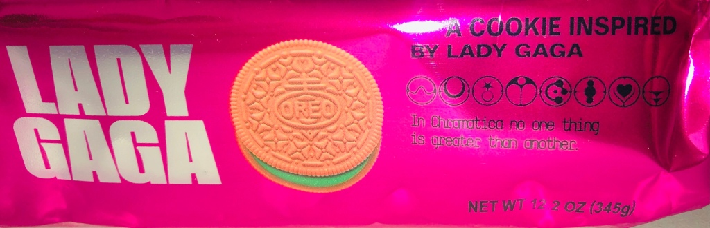 Side packaging of Lady Gaga Oreos